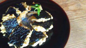 森の唱の玄米めんレシピ。海苔のおやき